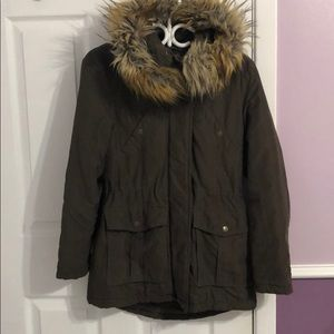 Green Utility Jacket With Removable Fur